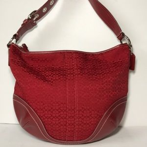 Coach F10923 Red Signature Leather Hobo Bag